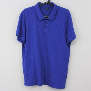 Vince Mens Large Blue Collared Polo Shirt C464